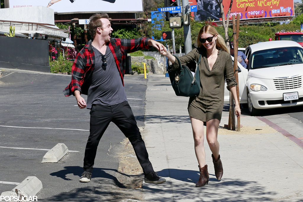 Lauren Parsekian and Aaron Paul danced on the sidewalk in LA.
