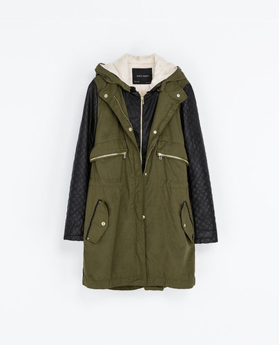 Image 6 of COMBINATION PARKA WITH FAUX LEATHER SLEEVES from Zara