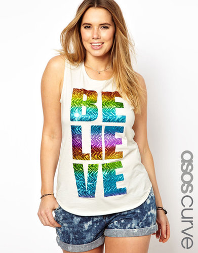 ASOS CURVE Exclusive Tank With Foil Believe Print