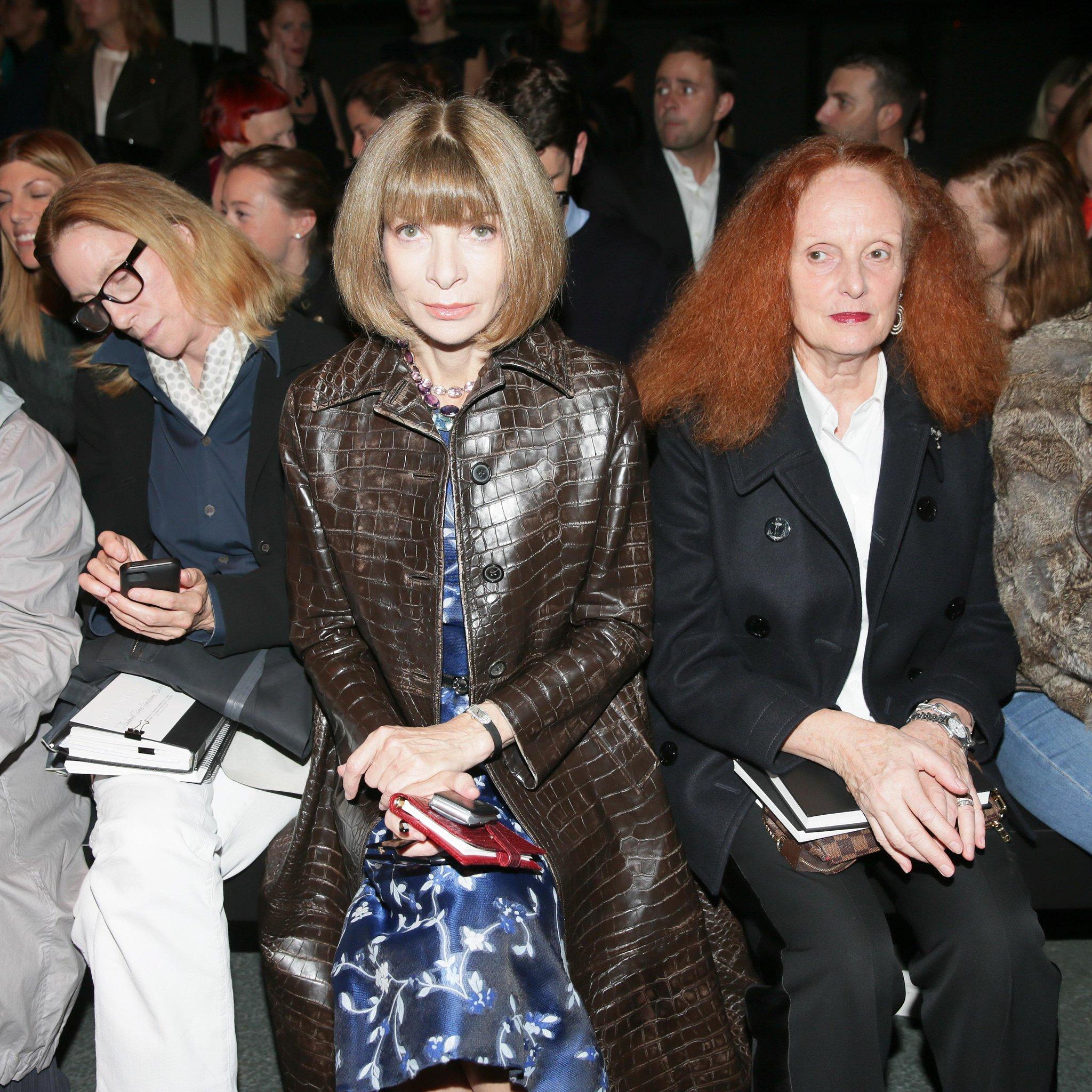 Anna Wintour joined Grace Coddington for Givenchy's Spring 2014 show.