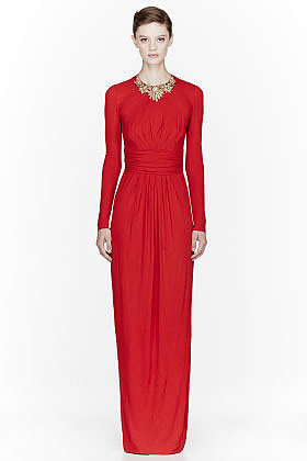 ALEXANDER MCQUEEN Red Jersey crystal embroidered Dress