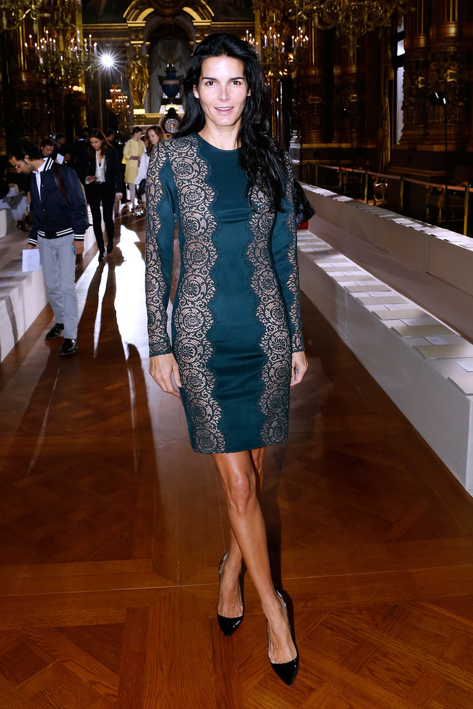 Angie Harmon's lace-detailed minidress showed off her svelte figure at Stella McCartney's show.