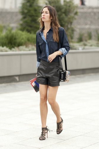 Digging the denim and leather look.