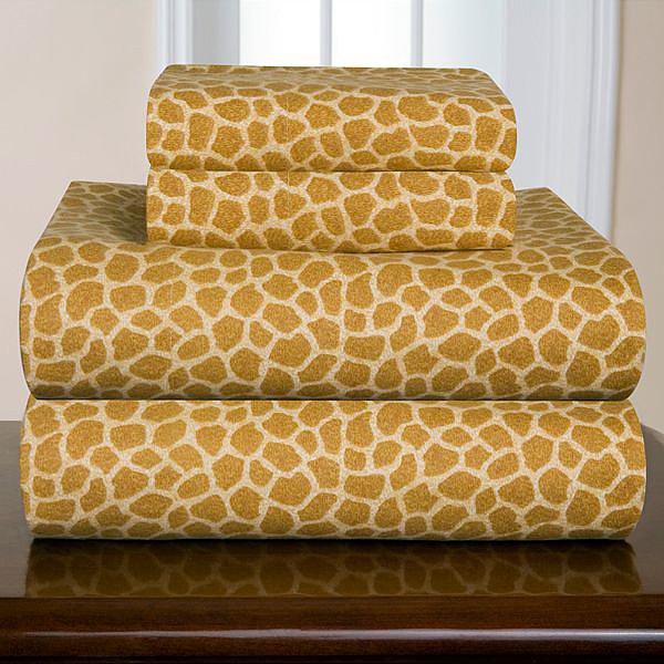 Pointehaven Giraffe Flannel Sheet Set