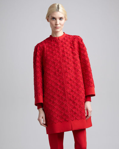 Valentino Guipure Lace Coat, Rouge