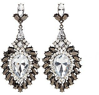 Silver Crystal Teardrop Chandelier Earrings