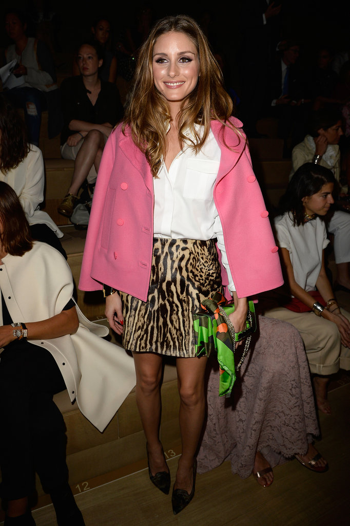 Olivia Palermo supported the Valentino collection in a sassy leopard miniskirt and a feminine pink coat.