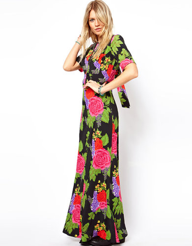 ASOS Maxi Dress With Tie Back In Floral Print