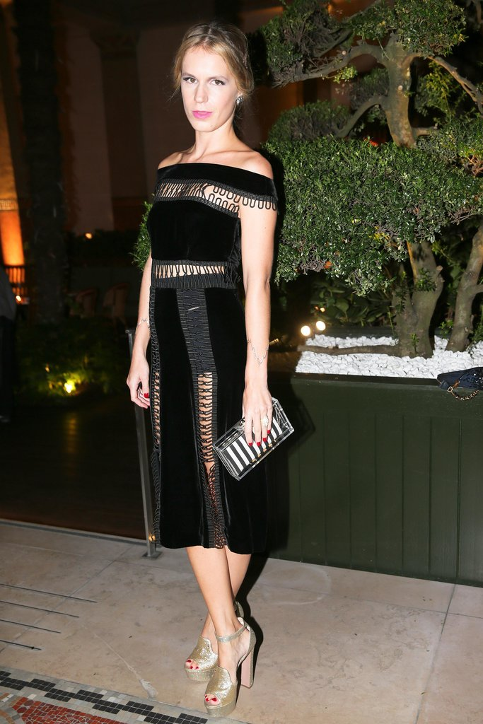 Eugenie Niarchos dined in Paris in a paneled black Christopher Kane cocktail dress.