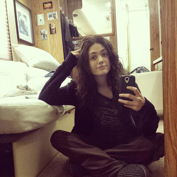 Emmy Rossum snapped a selfie while in her trailer on the set of Shameless. Source: Instagram user emmyrossum