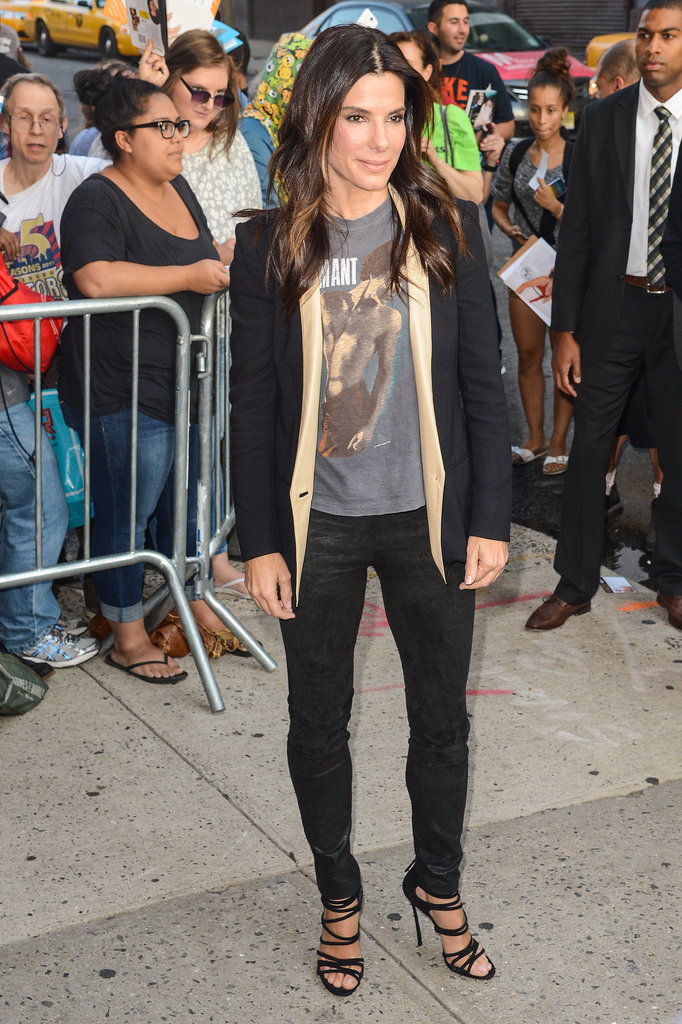 Sandra Bullock arrived at The Daily Show With Jon Stewart.
