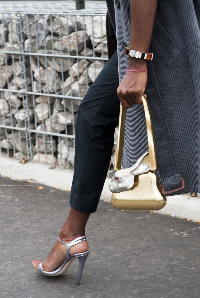 Major metallics — and she's got a rabbit in her bag!