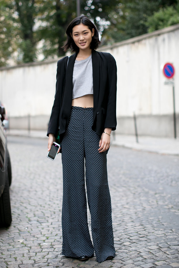A crop top adds a touch of the trends to easy trousers.