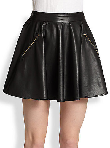 Line & Dot Faux-Leather Skater Skirt