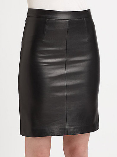 MILLY Edith Stretch-Leather Pencil Skirt