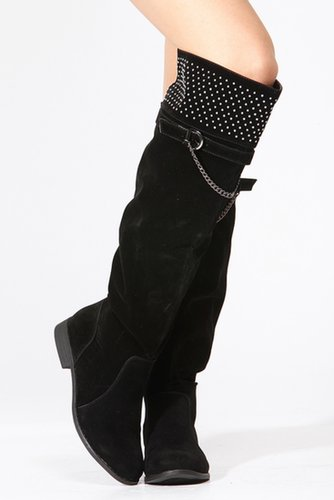 Dollhouse Knee Length Suede Silver Chain Boots