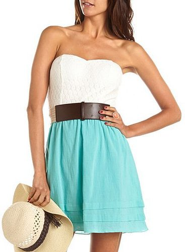 Belted Daisy Lace 2-Fer Dress