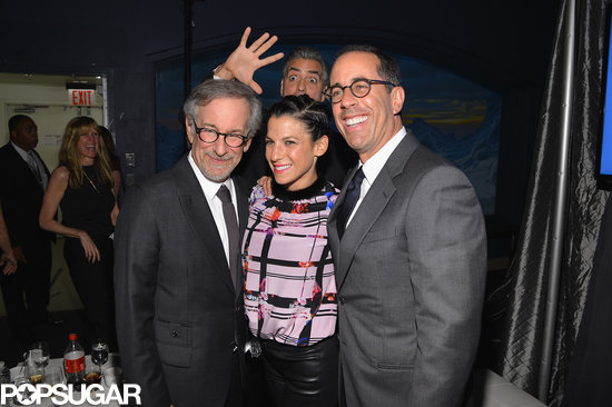 Geroge Clooney photobombed Steven Spielberg and Jessica and Jerry Seinfeld.