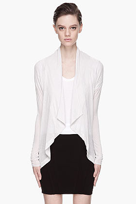HELMUT HELMUT LANG Oyster grey draping Cocoon Cardigan
