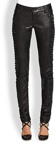 Alice + Olivia Embellished Cutout Leather Pants