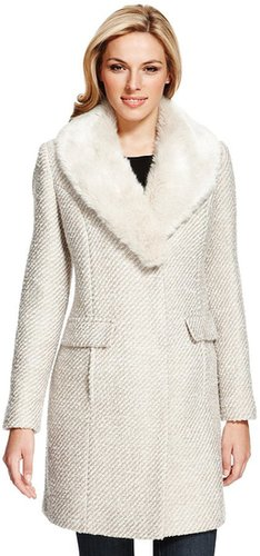 M&S Collection Faux Fur Collar Tweed Coat with Wool