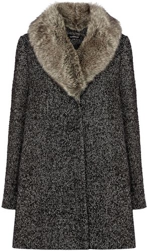 Warehouse Faux fur collar coat