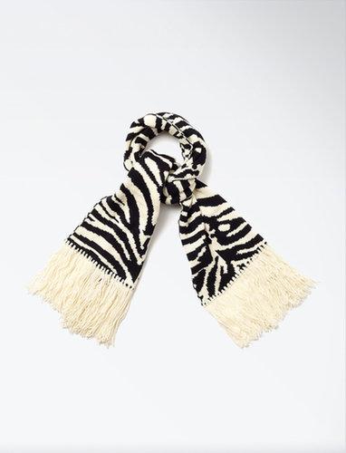 Zebra Jacquard Fringe Scarf