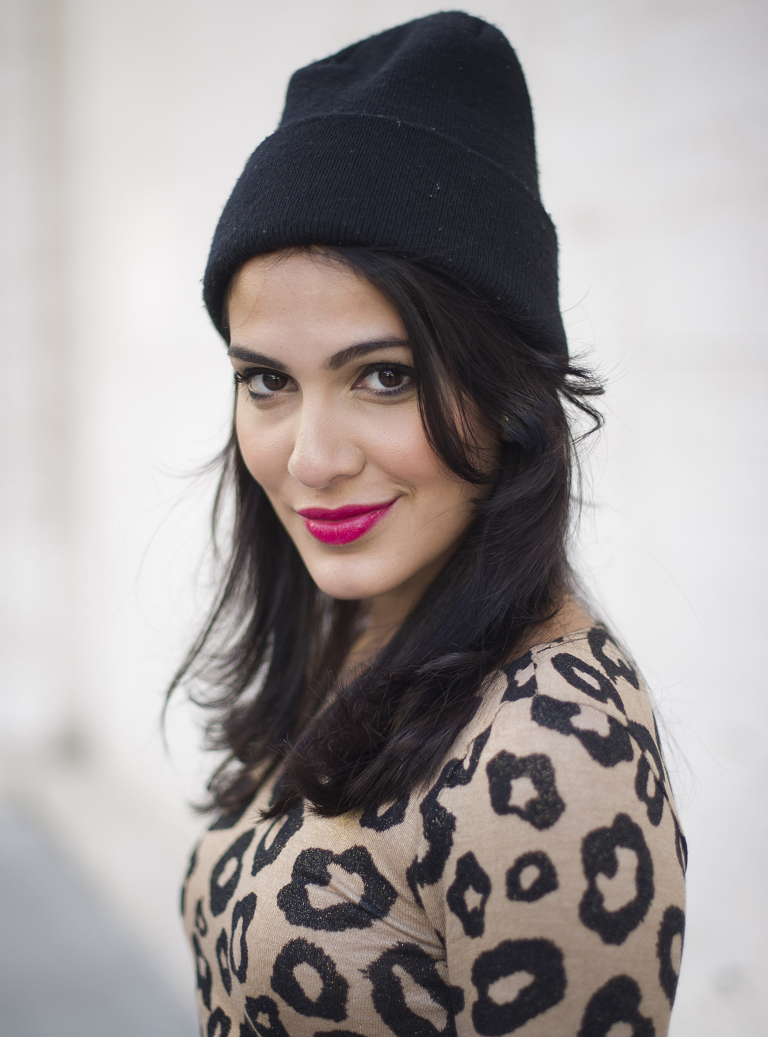 Fuchsia Lips A Beanie And A Leopard Print Top Combined