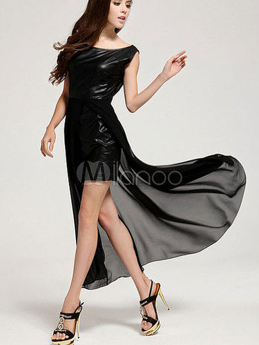 Hot Black Solid Color High Low Design Studded Chiffon Crewneck Women's Maxi Dress