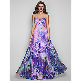 A-line/Princess Straps Floor-length Print Chiffon Grace Evening Dress