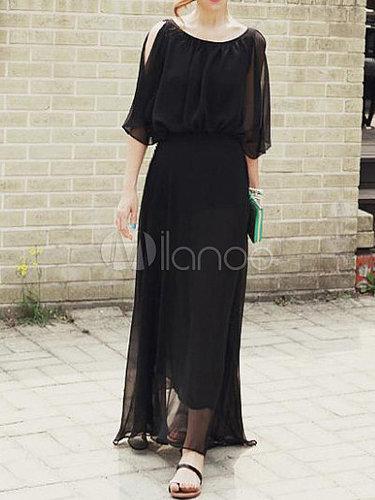 Leisure Black Polyester Scoop Neck Women's Maxi Dress