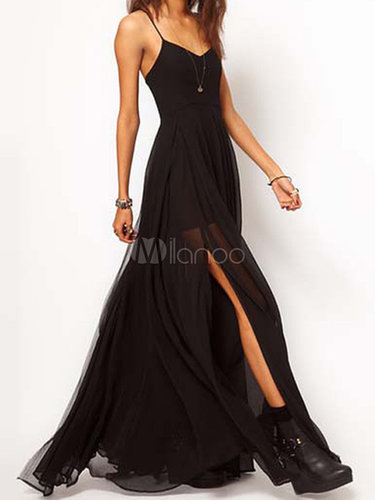 Hot Black Solid Color Backless Split Front Chiffon Straps Neck Maxi Dress