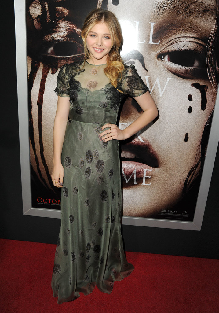 Chloë Moretz wore a Valentino gown on the red carpet at the LA premiere of Carrie.
