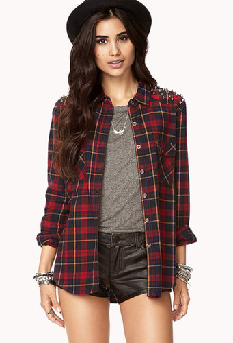 FOREVER 21 High-Voltage Plaid Shirt