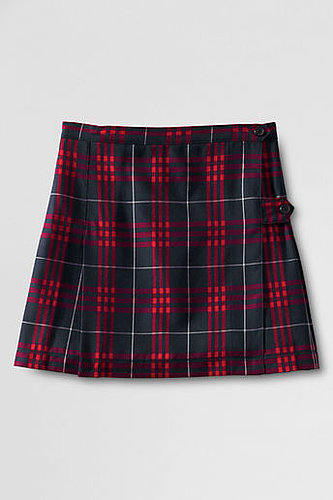School Uniform Women's Plaid Side Button Kilt Skirt