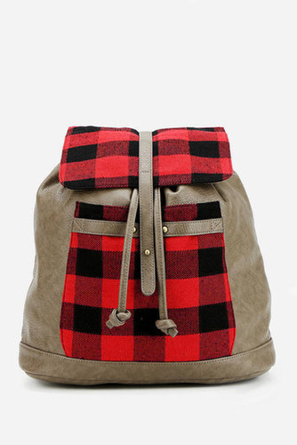 BDG Plaid Drawstring Backpack