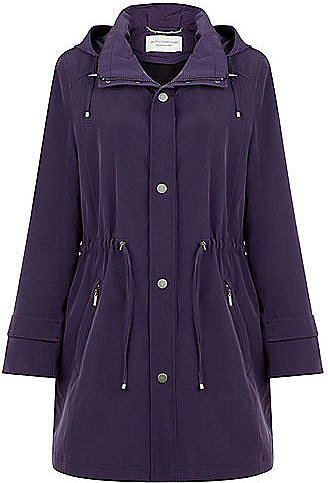 Mid Length Damson Raincoat with Detachable Lining