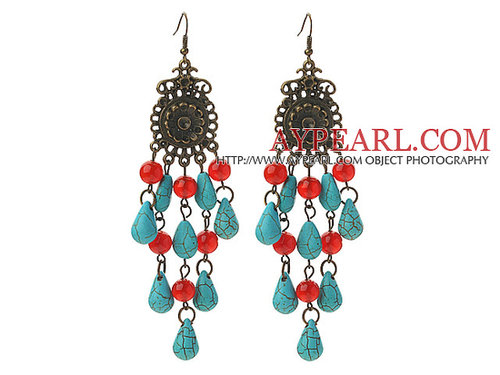 Assorted Carnelian and Teardrop Shape Turquoise Vintage Style Earrings