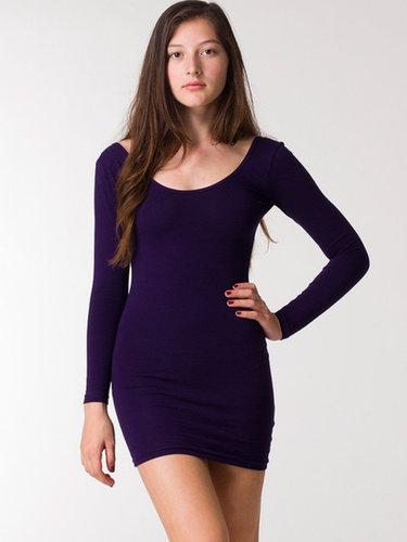 Cotton Spandex Jersey Double U-Neck Long Sleeve Mini Dress