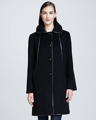 Sofia Cashmere Straight Leather-Piped Coat, Black