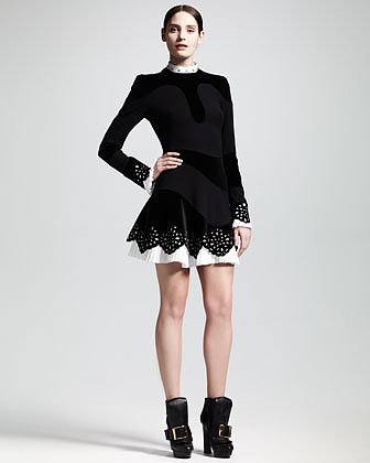 Alexander McQueen Pleated-Trim Cutout Dress