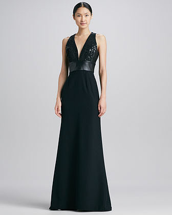 Carmen Marc Valvo Leather-Waist Halter Gown