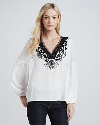 Nanette Lepore Moonlight Embroidered Top