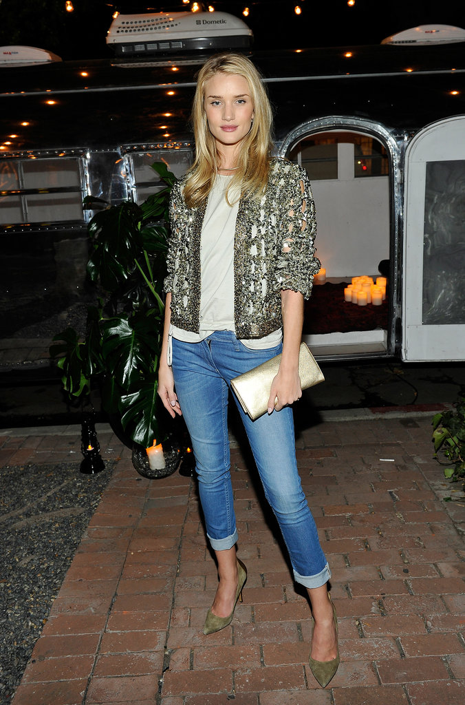 Rosie Huntington-Whiteley sparkled in Isabel Marant at the designer's LA barbecue.