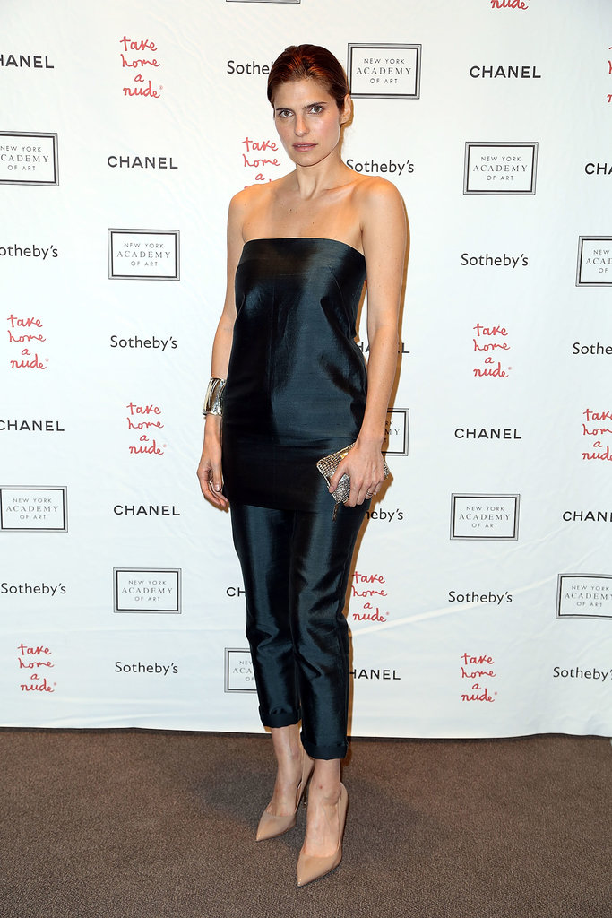 Lake Bell rocked pants at a recent New York City art event, though the sleek look involved a styling trick. It's actually a dress worn over trousers, both from Jenni Kayne's Fall 2013 collection. In this case, we love being fooled!