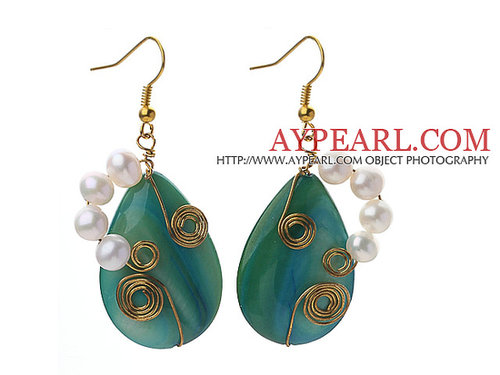 Wire Wrapped Teardrop Shape Lake Blue Shell and White Freshwater Pearl Earrings