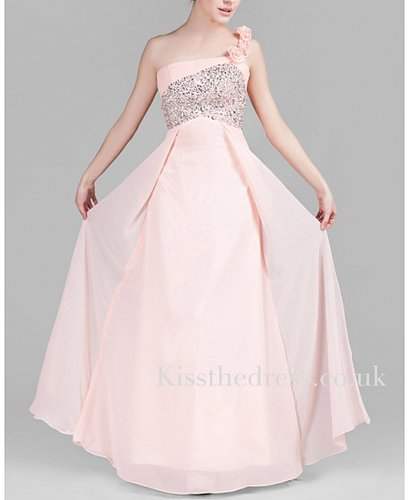 Light Pink Chiffon Floral One Shoulder Long Evening Dress XZ052