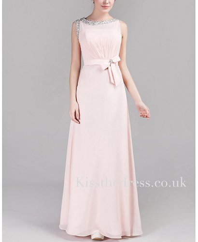 Light Pink Chiffon Round Neck Column/Sheath Long Evening Dress XZ028