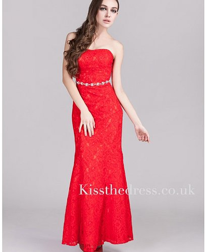 Red Lace Strapless Ankle-length Mermaid Long Evening Dress XZ033