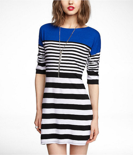 Mixed Stripe Drop Shoulder Slub Dress